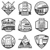 Vintage Monochrome Petrol Station Labels Set. With fuel gauge pump nozzles car refilling canister truck transporting gasoline isolated vector illustration Stock Photo