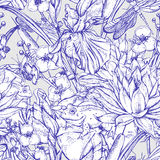 Vintage monochrome pond water flowers vector seamless pattern Stock Photos