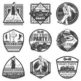 Vintage Monochrome Retro Party Labels Set Royalty Free Stock Image