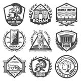 Vintage Monochrome Roman Empire Labels Set. With Caesar ancient buildings gladiator helmet sword shield chariot columns laurel wreathes isolated vector stock illustration