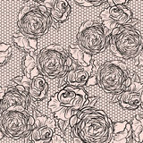Vintage monochrome roses pattern with lace Royalty Free Stock Images