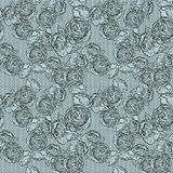 Vintage monochrome roses pattern with lace Stock Images