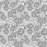 Vintage monochrome roses pattern with lace Stock Image