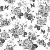 Vintage monochrome roses pattern Stock Image