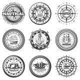 Vintage Monochrome Round Nautical Labels Set. With compass hats captain ship boat map anchor lifebuoy isolated vector illustration Stock Photography