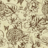 Vintage Monochrome Seamless Background, Tropical stock illustration