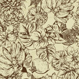 Vintage Monochrome Seamless Background, Tropical Fruit, Flowers, Butterfly and Birds Stock Photos