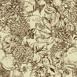 Vintage Monochrome Seamless Background, Tropical Fruit, Flowers, Butterfly and Birds Stock Image