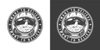 Vintage monochrome space round label. With moon surface and ufo in astronaut helmet isolated vector illustration royalty free illustration