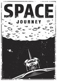 Vintage monochrome space travel poster. With flying shuttle on moon background vector illustration vector illustration