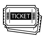 Vintage monochrome two cinema tickets template. Isolated vector illustration Stock Images