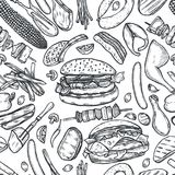 Seamless pattern barbecue grill. Vintage monochrome vector engraving Seamless pattern barbecue grill. Top view with charcoal, mushroom, tomato, pepper, sausage Royalty Free Stock Photography
