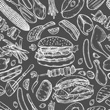 Seamless pattern barbecue grill. Vintage monochrome vector engraving Seamless pattern barbecue grill. Top view with charcoal, mushroom, tomato, pepper, sausage Royalty Free Stock Images