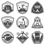 Vintage Monochrome Video Game Labels Set Royalty Free Stock Images