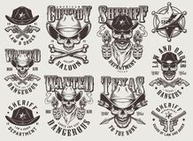 Vintage monochrome wild west labels set. With skulls in cowboy hat sheriff badge crossed bones pistols arrows isolated vector illustration royalty free illustration