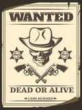 Vintage Monochrome Wild West Wanted Poster Stock Image