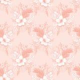 Vintage monocromático Coral Tropical Exotic Foliage e teste padrão sem emenda do vetor floral do hibiscus A lápis fundo do desenh ilustração stock