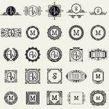 Vintage Monogram Design Templates . Icons Symbols, Retro Labels, Badges, Silhouettes. Royalty Free Stock Image