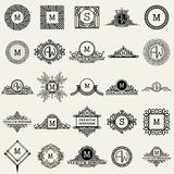 Vintage Monogram Design Templates . Icons Symbols, Retro Labels, Badges, Silhouettes. Stock Images