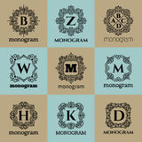 Vintage monogram frame template Stock Photos