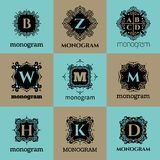 Vintage monogram frame template royalty free illustration