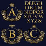 Vintage monogram kit. Golden letters and floral coat of arms frames for creating initial logo in antique style.  Royalty Free Stock Photos