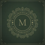 Vintage monogram logo template - flourishes calligraphic frame with letter on a ornamental pattern background. Royalty Free Stock Photos