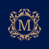 Vintage monogram template. Elegant monogram design template. Calligraphic floral ornament. Can be used for label and invitation design .Business sign, monogram Royalty Free Stock Image