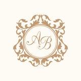 Vintage monogram template. Elegant floral monogram design template for one or two letters . Wedding monogram. Calligraphic elegant ornament. Business sign Stock Photo