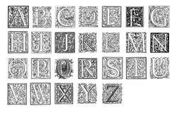 Vintage monograms alphabet Stock Photos