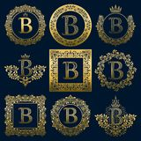 Vintage monograms set of B letter. Golden heraldic logos in wreaths, round and square frames.  Royalty Free Stock Images