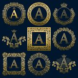 Vintage monograms set of A letter. Golden heraldic logos in wreaths, round and square frames.  Royalty Free Stock Photos