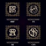 Vintage Monograms - 4 sets Stock Photos