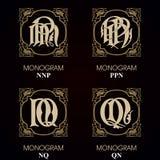 Vintage Monograms - 4 sets Royalty Free Stock Photos
