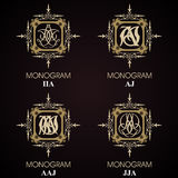 Vintage Monograms - 4 sets Royalty Free Stock Photo