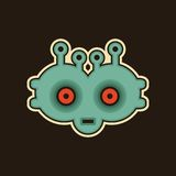 Vintage monster. Cool illustration with robot face vector illustration