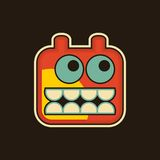 Vintage monster. Cool illustration with robot face stock illustration