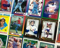 Vintage Montreal Expos baseball trading card collage.  stock photo