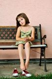 Vintage mood - sad child portrait Royalty Free Stock Photography