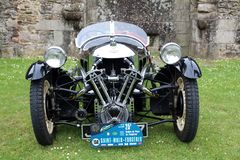 A vintage Morgan Supersport. The car is a three wheeler capable of reaching 100mph. It had a 2 cylinder 1096cc V engine royalty free stock photo