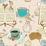Vintage morning tea background Stock Illustration