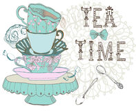 Vintage morning tea time background Stock Image