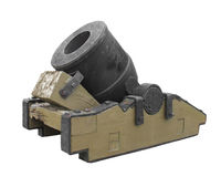 Vintage mortar cannon isolated. Royalty Free Stock Photography