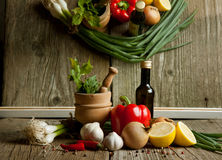 Vintage mortar and mix of vegetables with reflex Royalty Free Stock Images