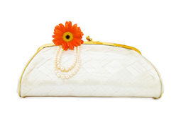 Vintage Mother of Pearl evening bag on white Royalty Free Stock Photos
