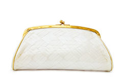 Vintage Mother of Pearl evening bag on white Stock Image