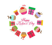 Vintage mothers day cupcakes and gifts Royalty Free Stock Photos