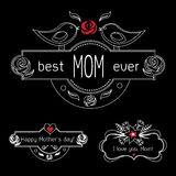 Vintage Mothers Day Labels Set On Chalkboard. best Mom ever, happy Mothers day and I love you, Mom gift card. Vector Stock Photos