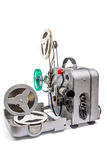 Vintage motion picture film projector and reel of motion picture. Retro old reel movie projector for cinema.  With clipping path. A reels of motion picture film Stock Image