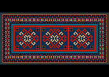Vintage motley carpet with ethnic red pattern on the center Stock Images